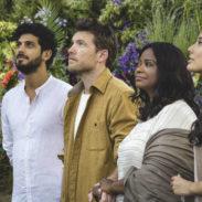 Jesus (Aviv Alush, far left), Mack Phillips (Sam Worthington, center left), Papa (Octavia Spencer, center right) and Sarayu (Sumire Matsubara, far right) in THE SHACK.
