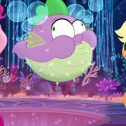 From L to R: FLUTTERSHY (Andrea Libman), PINKIE PIE (Andrea Libman), SPIKE (Cathy Weseluck), APPLEJACK (Ashleigh Ball) and RAINBOW DASH (Ashleigh Ball) in MY LITTLE PONY: THE MOVIE.