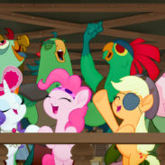 From L to R: FLUTTERSHY (Ashleigh Ball), RARITY (Tabitha St. Germain), PINKIE PIE (Andrea Libman), APPLEJACK (Ashleigh Ball) and SPIKE (Cathy Weseluck) in MY LITTLE PONY: THE MOVIE.